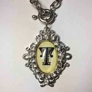 """Jewelry - Ladies' Old English Monogram Initial Necklace -""""T"""""""